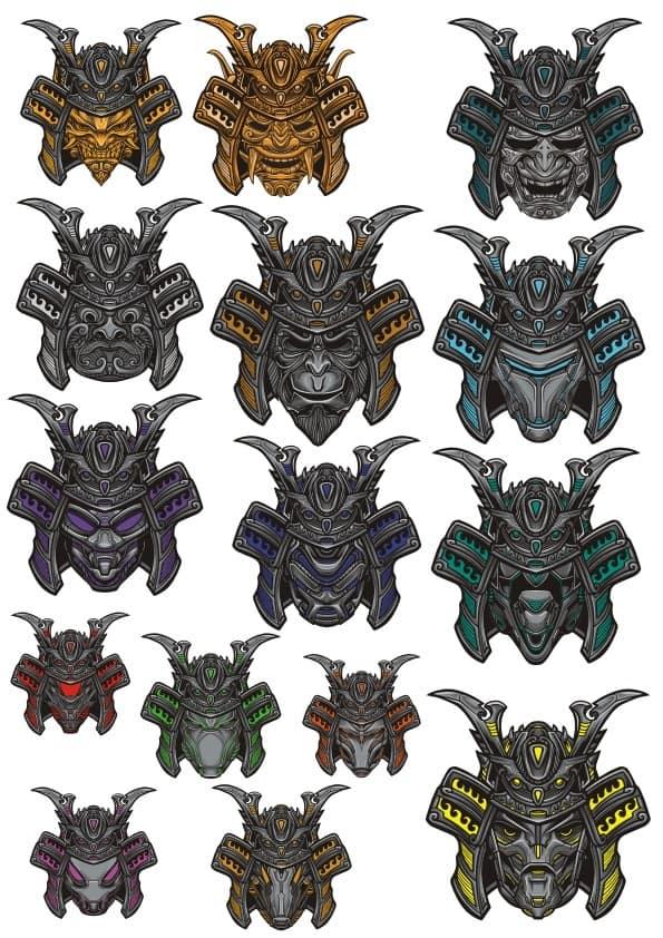 Samurai mask set (cdr)