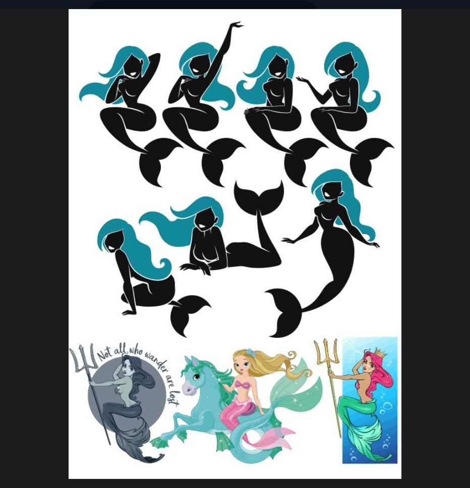 mermaid silueth set (cdr)
