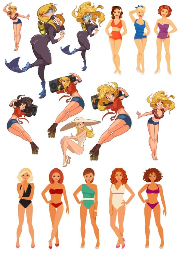 Cartoon Beach Girls (cdr)
