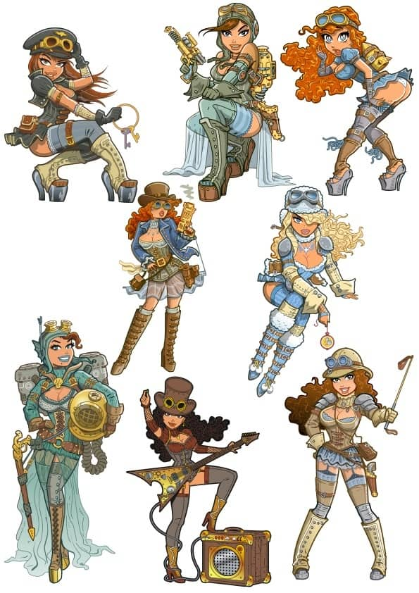 Steampunk Girls set (cdr)