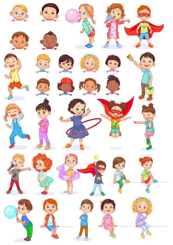 Cute Children 1 set (cdr)