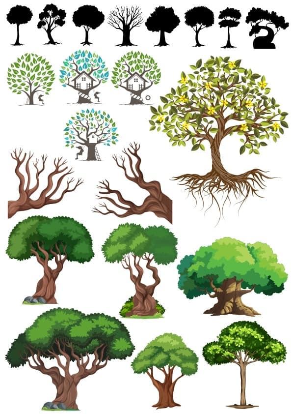 Trees Set 4 Cdr Vectors Free Download Beautiful Clip Art