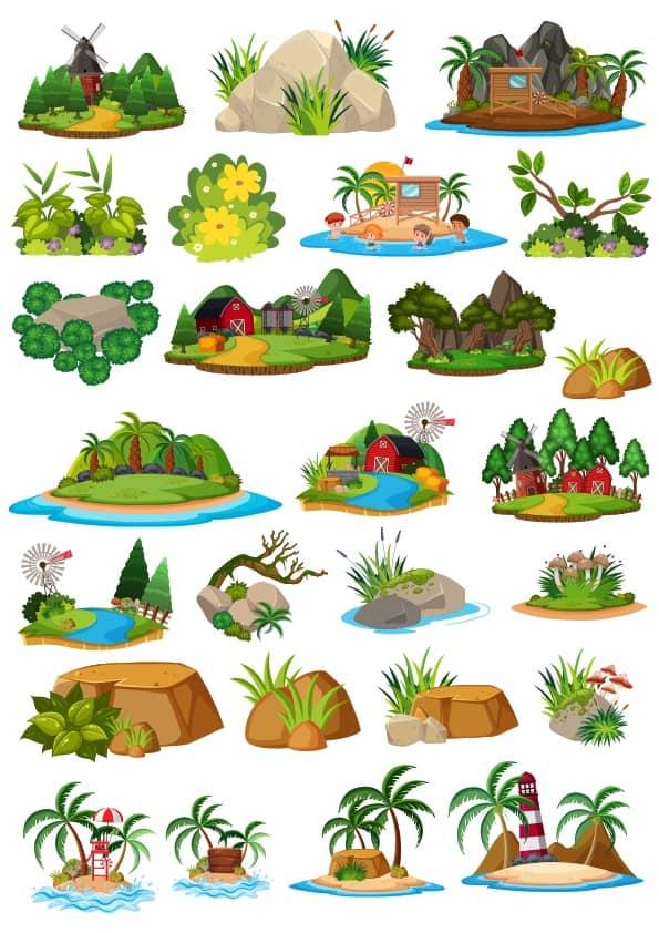 Cartoon Landscape set 4 (cdr)
