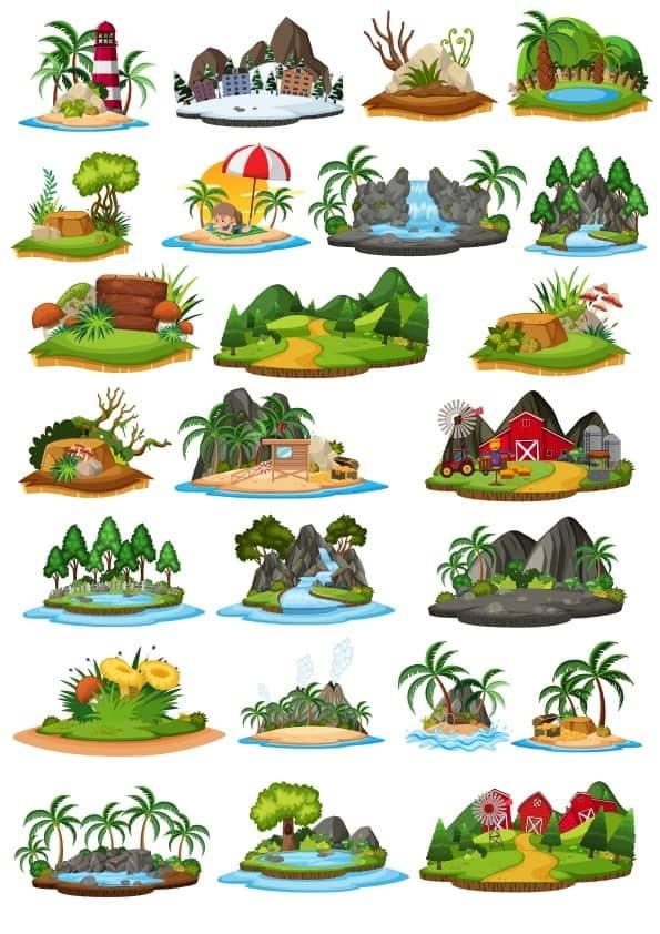Cartoon Landscape set 1 (cdr)