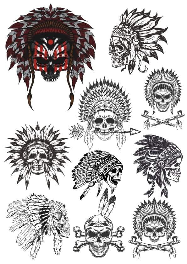 Indian Skulls set (cdr)