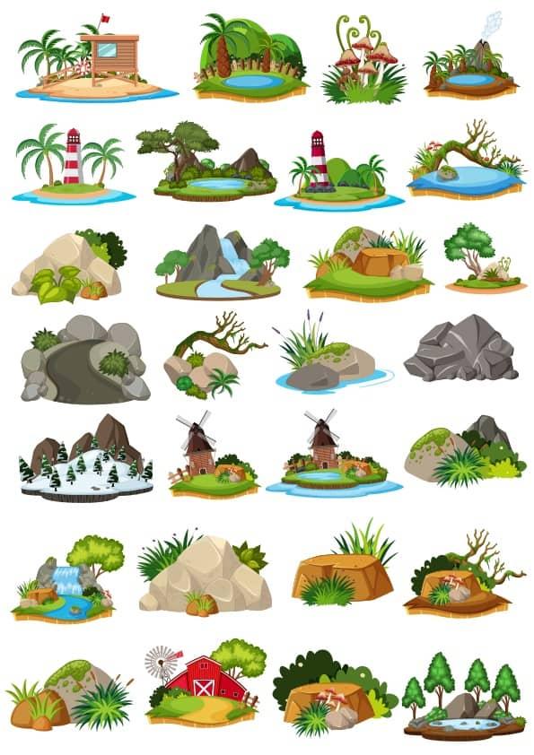 Cartoon Landscape set 3 (cdr)